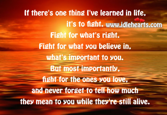 One Thing I've Learned In Life, It'S To Fight.