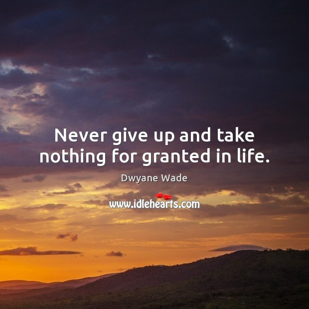 Never give up and take nothing for granted in life. Dwyane Wade Picture Quote
