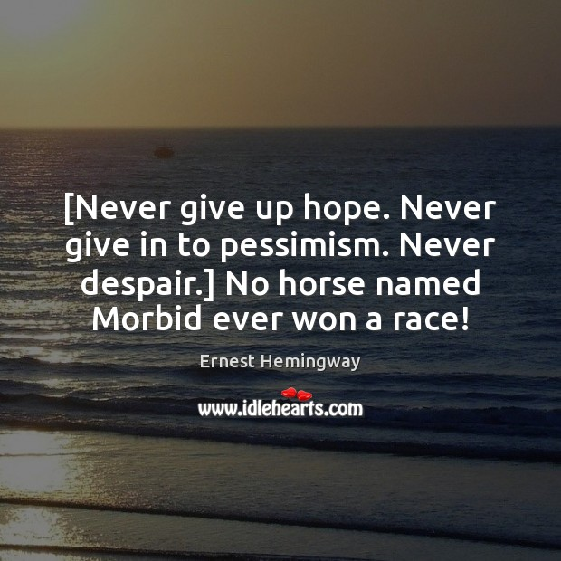 [Never give up hope. Never give in to pessimism. Never despair.] No Never Give Up Quotes Image