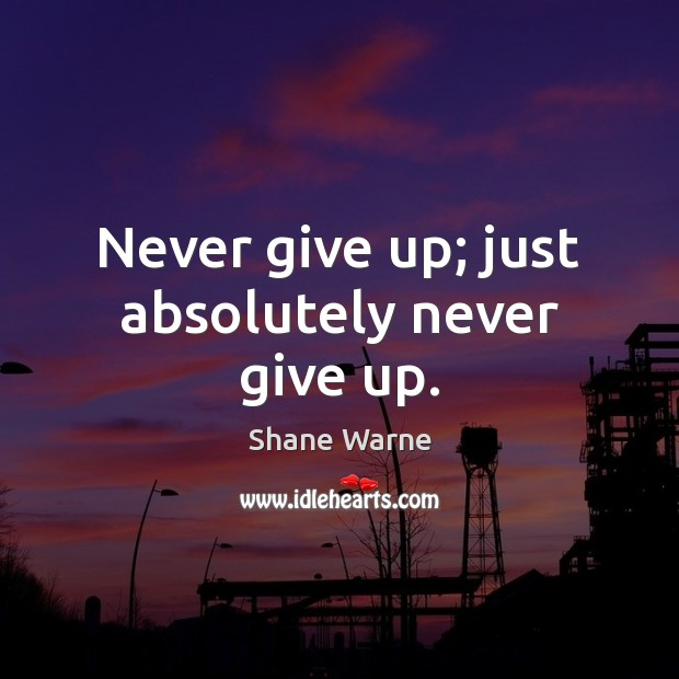 Never give up; just absolutely never give up. Never Give Up Quotes Image