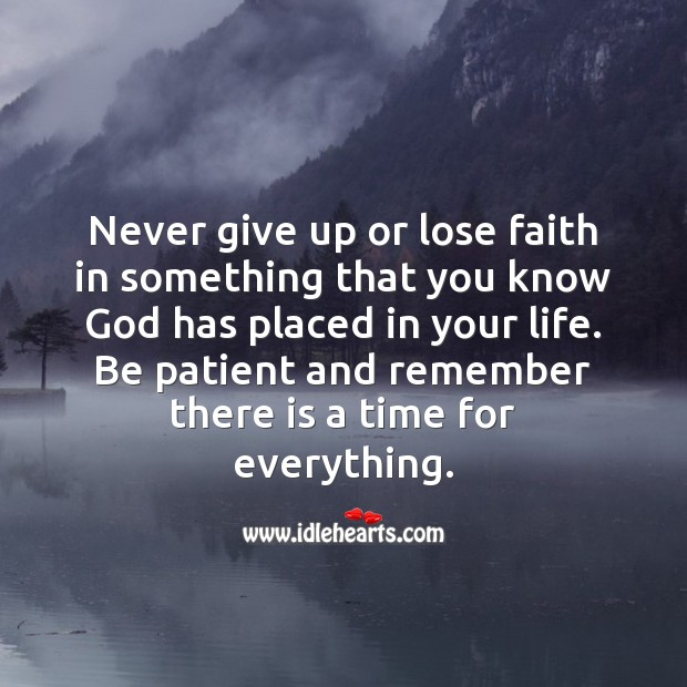 Never give up or lose faith Image
