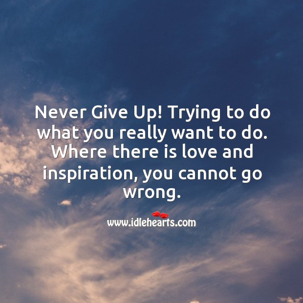 Image, Never give up trying to do what you really want to do.