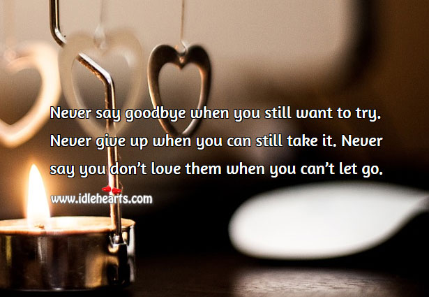 Never say you don't love them when you can't let go. Never Give Up Quotes Image