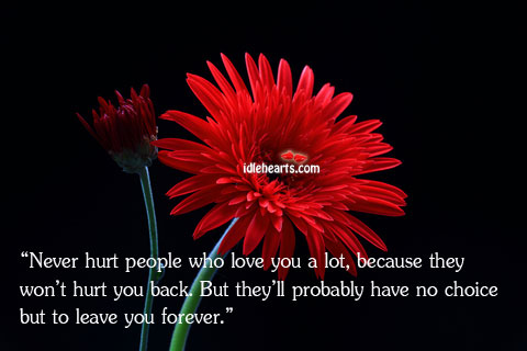 Image, Never hurt people who love you.