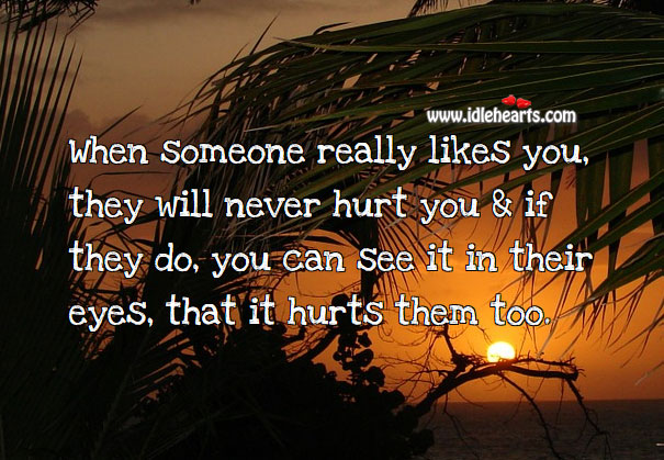 When someone really likes you, they will never hurt Hurt Quotes Image