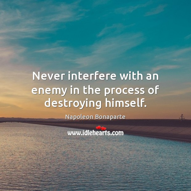 Never interfere with an enemy in the process of destroying himself. Napoleon Bonaparte Picture Quote