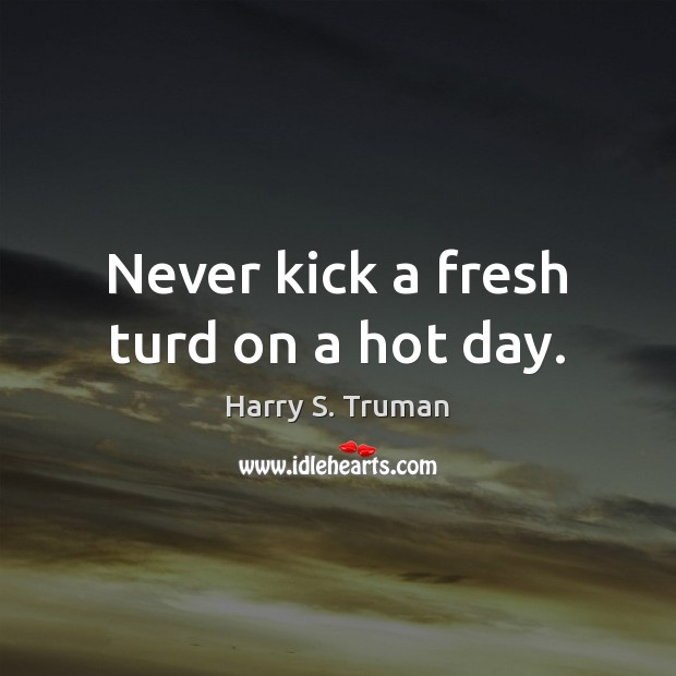Never kick a fresh turd on a hot day. Image