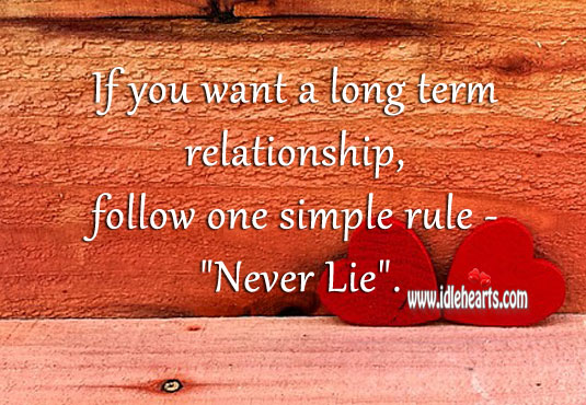 Never lie if you want a long term relationship Lie Quotes Image