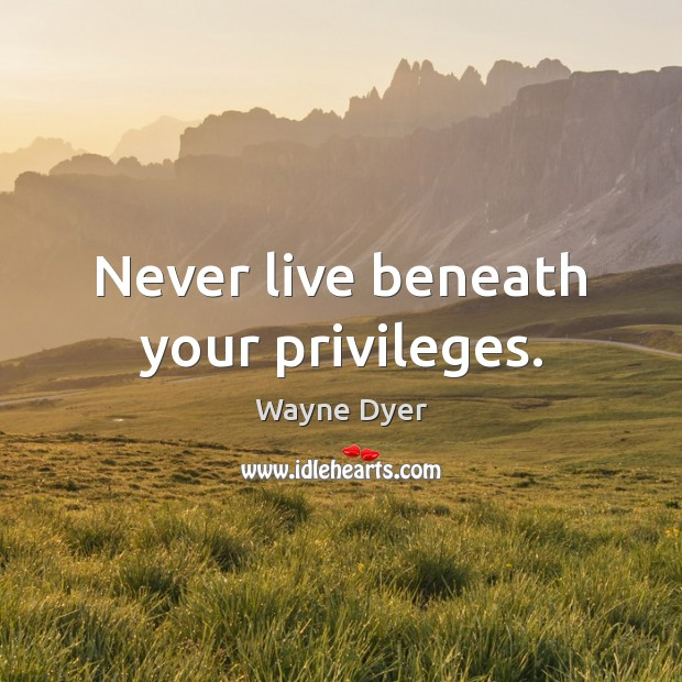 Never live beneath your privileges. Wayne Dyer Picture Quote