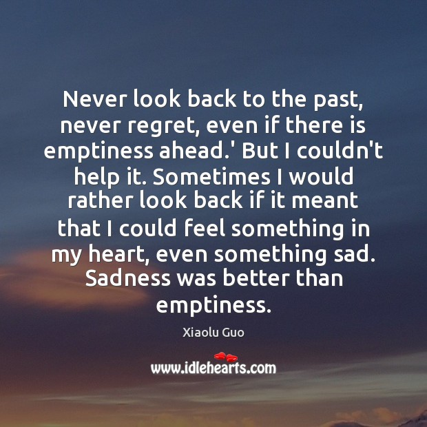 Never look back to the past, never regret, even if there is Never Look Back Quotes Image