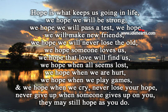 Never lose your hope Hurt Quotes Image