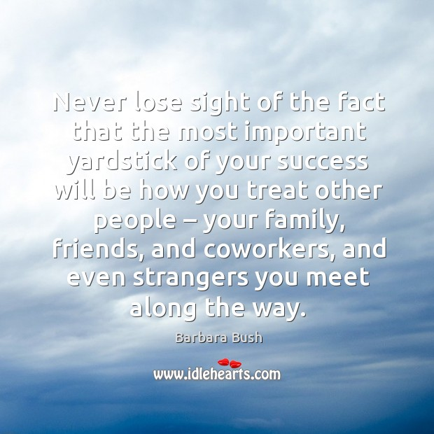 Never lose sight of the fact that the most important yardstick of your success will be how Image