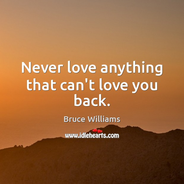 Image, Never love anything that can't love you back.