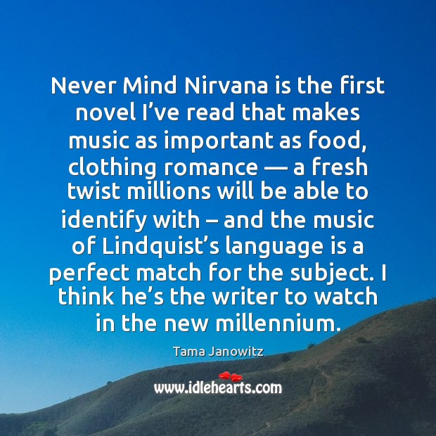 Never Mind Nirvana is the first novel I've read that makes Image