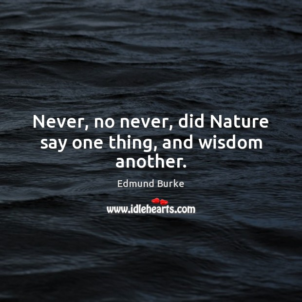 Never, no never, did Nature say one thing, and wisdom another. Edmund Burke Picture Quote