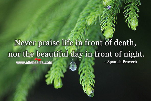 Image, Never praise life in front of death, nor the beautiful day in front of night.