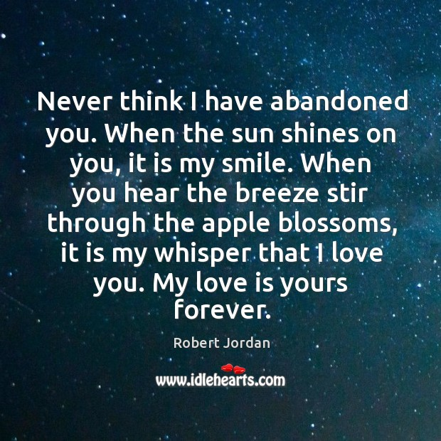 Never think I have abandoned you. When the sun shines on you, Image