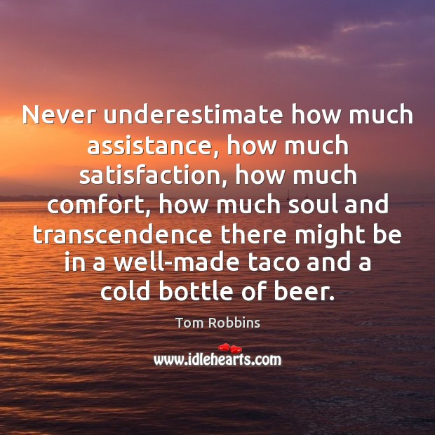 Never underestimate how much assistance, how much satisfaction, how much comfort, how Underestimate Quotes Image