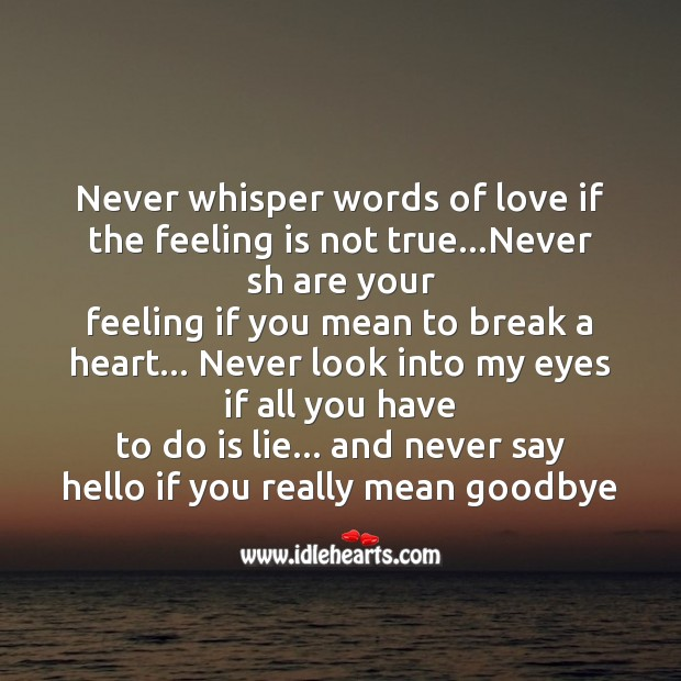 Never whisper words of love if the feeling is not true Image