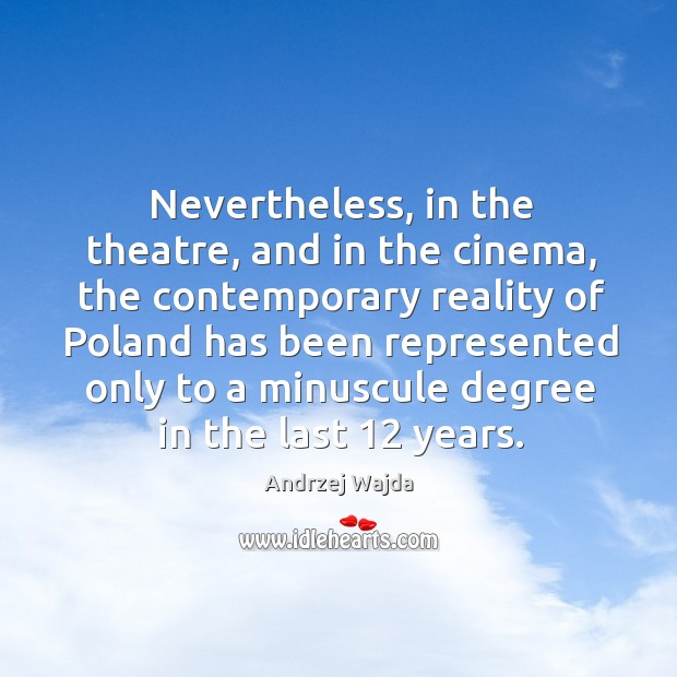 Nevertheless, in the theatre, and in the cinema, the contemporary reality of poland has Image