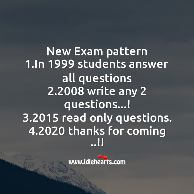 New exam pattern in 1999 students answer all questions Image
