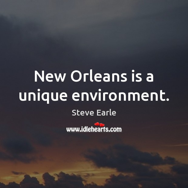 New Orleans is a unique environment. Steve Earle Picture Quote