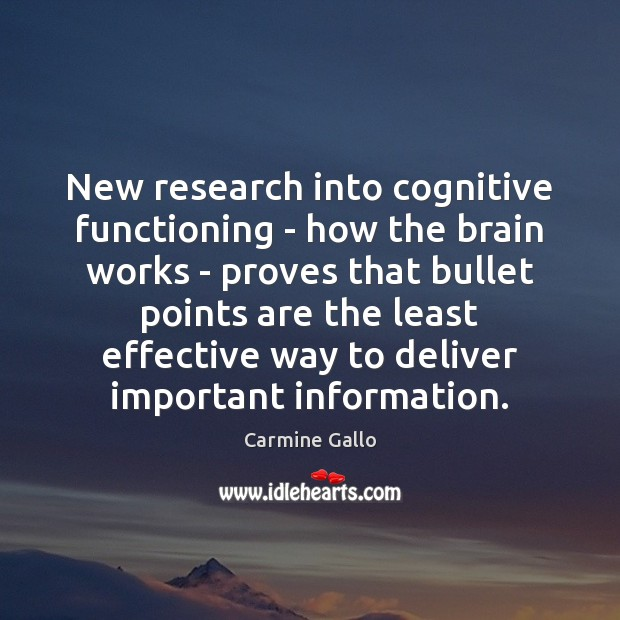 New research into cognitive functioning – how the brain works – proves Image