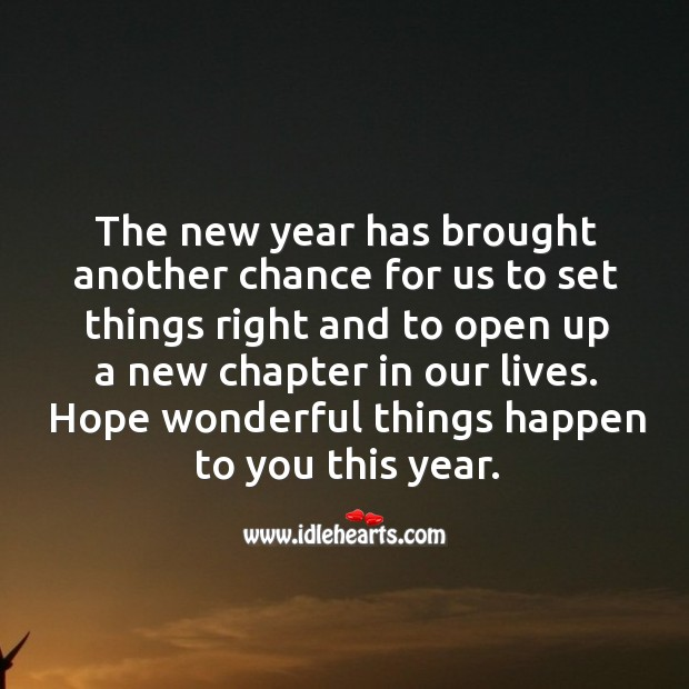 Image, New year has brought another chance for us to set things right.