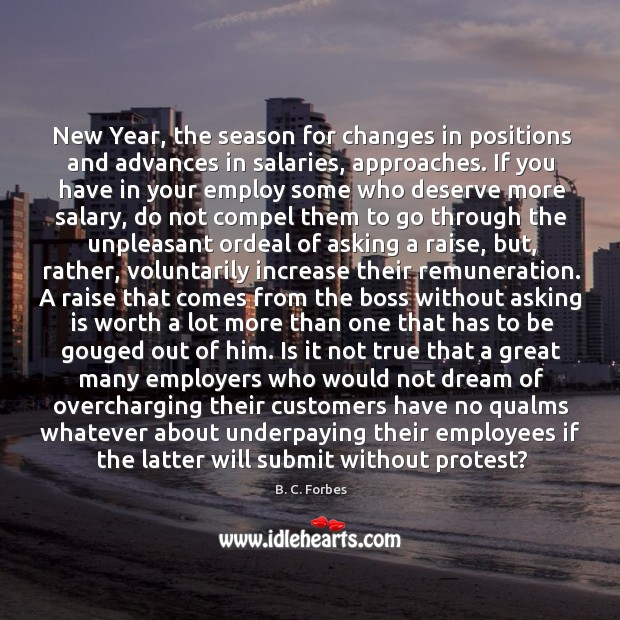 New Year, the season for changes in positions and advances in salaries, Image