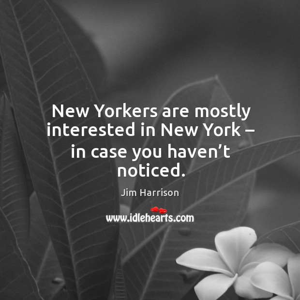 New yorkers are mostly interested in new york – in case you haven't noticed. Image