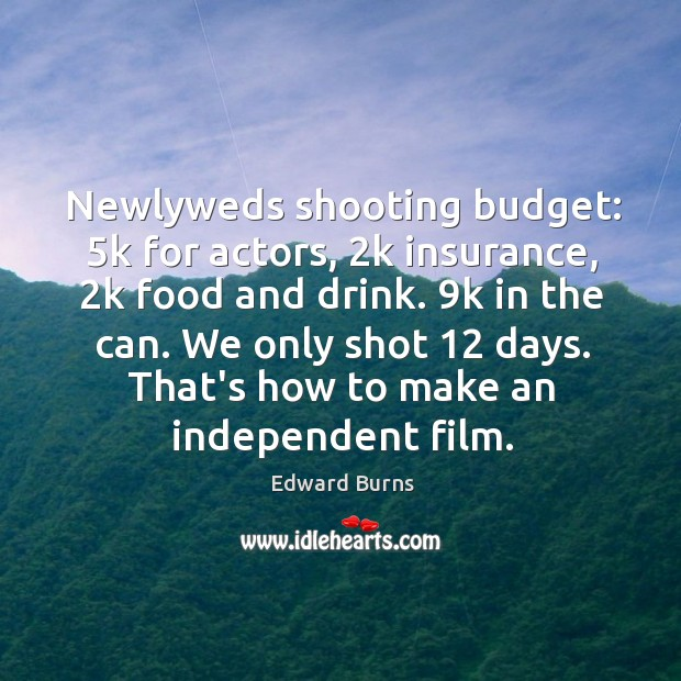 Image, Newlyweds shooting budget: 5k for actors, 2k insurance, 2k food and drink. 9