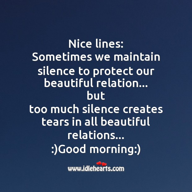 Nice lines: sometimes we maintain silence to protect our beautiful relation… But Good Morning Messages Image
