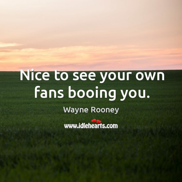 Nice to see your own fans booing you. Wayne Rooney Picture Quote