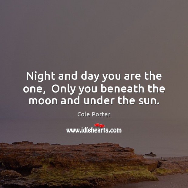 Night and day you are the one,  Only you beneath the moon and under the sun. Image