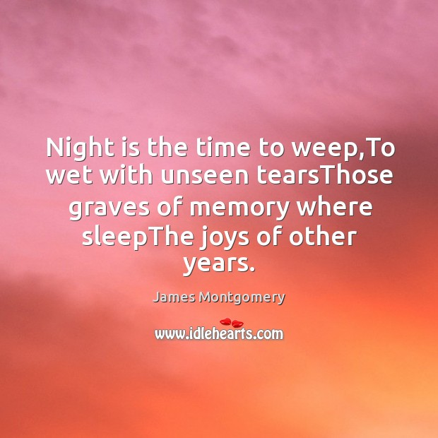 Night is the time to weep,To wet with unseen tearsThose graves Image