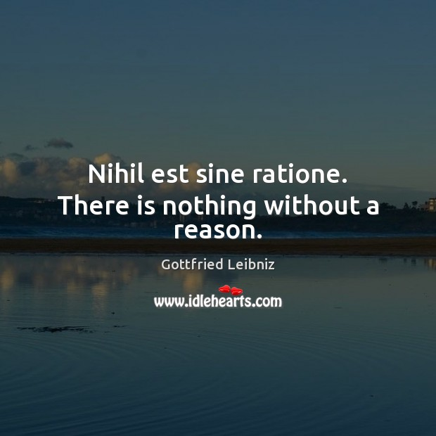 Nihil est sine ratione. There is nothing without a reason. Image