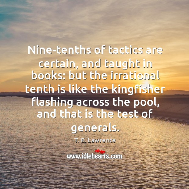 Nine-tenths of tactics are certain, and taught in books: Image