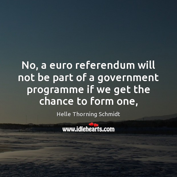 No, a euro referendum will not be part of a government programme Image