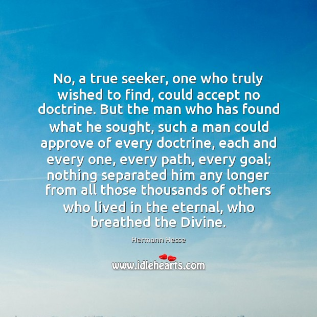 No, a true seeker, one who truly wished to find, could accept Hermann Hesse Picture Quote