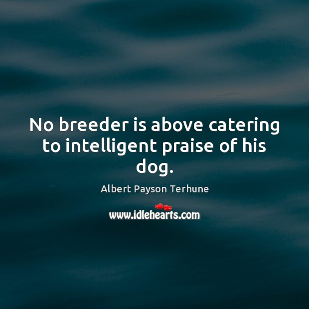Image, No breeder is above catering to intelligent praise of his dog.