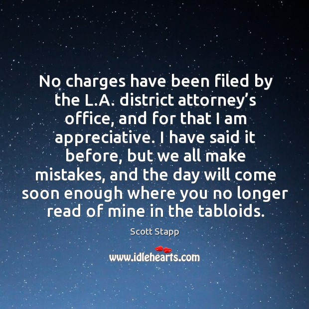 No charges have been filed by the l.a. District attorney's office Scott Stapp Picture Quote