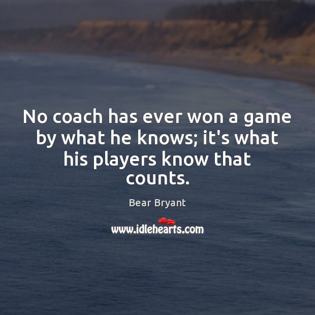 No coach has ever won a game by what he knows; it's what his players know that counts. Bear Bryant Picture Quote