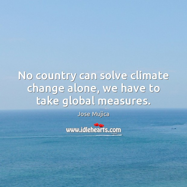 No country can solve climate change alone, we have to take global measures. Image