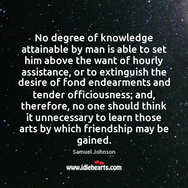 No degree of knowledge attainable by man is able to set him Image