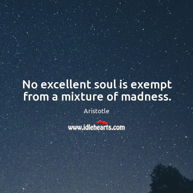 Image, No excellent soul is exempt from a mixture of madness.