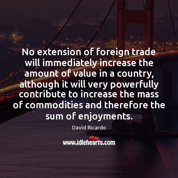 No extension of foreign trade will immediately increase the amount of value David Ricardo Picture Quote