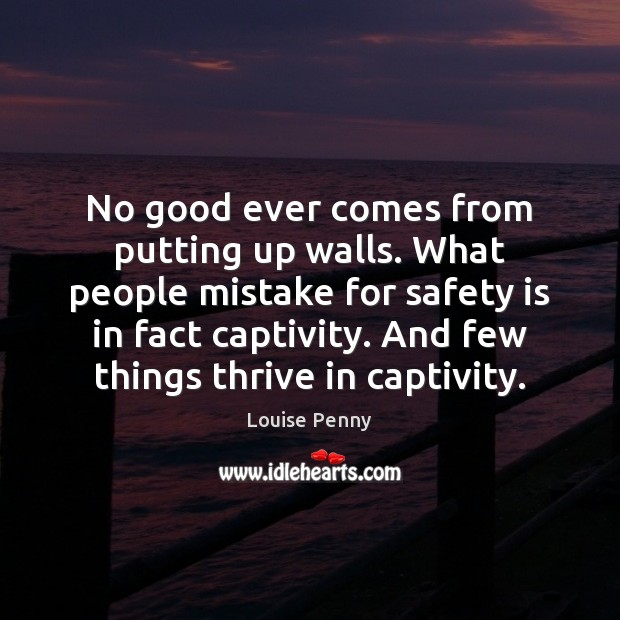 No good ever comes from putting up walls. What people mistake for Safety Quotes Image