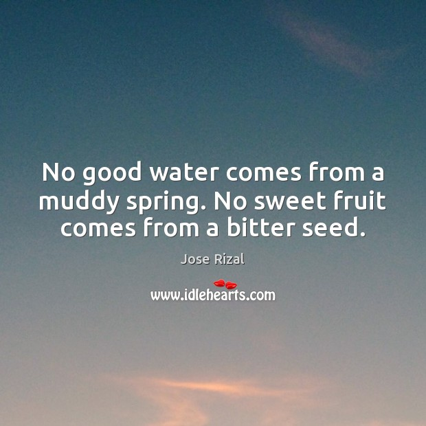 No good water comes from a muddy spring. No sweet fruit comes from a bitter seed. Jose Rizal Picture Quote