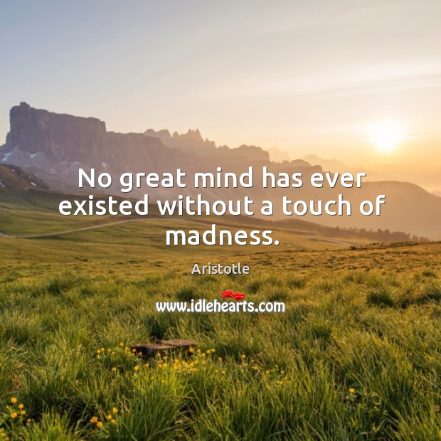 No great mind has ever existed without a touch of madness. Image