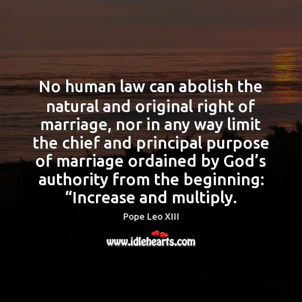 No human law can abolish the natural and original right of marriage, Image